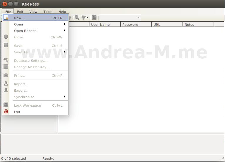 Nuovo Database KeePass