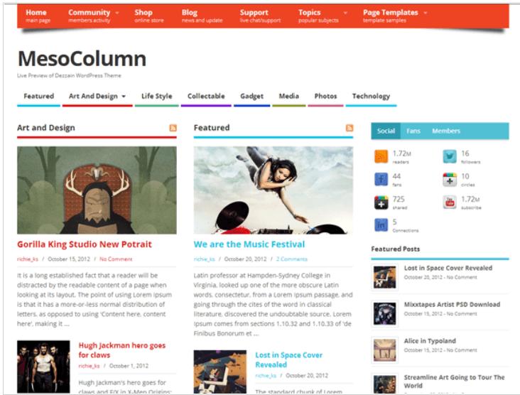 Temi WordPress Gratis - MesoColumn