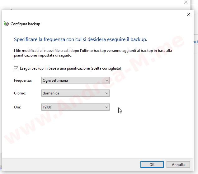 Pianificazione Backup Windows 10