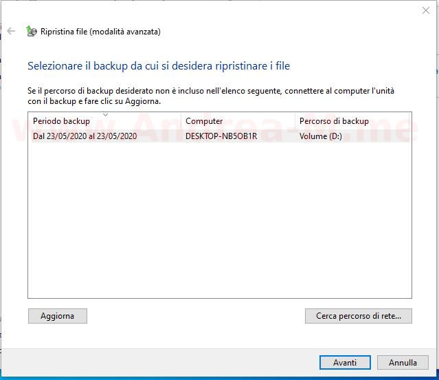 Ripristino su altro PC